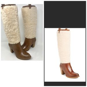 NEW UGG AVA CHESTNUT SHEEPSKIN LEATHER TALL BOOTS